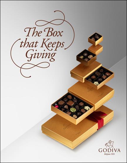 Godiva újra ajándékozható doboz csoki